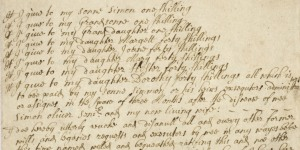 Section of Simon Oliver's will from 1699