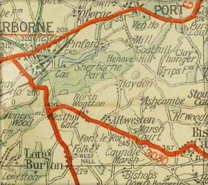 Old Dorset map showing Sherborne, North Wootton, Allweston and Folke.