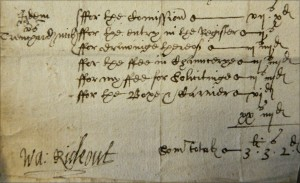Signature of Walter Rideout. 1611.