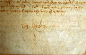 Signature of Walter Rideout. 1642.